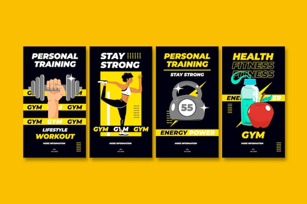 Raccolta di storie di instagram di salute e fitness piatta