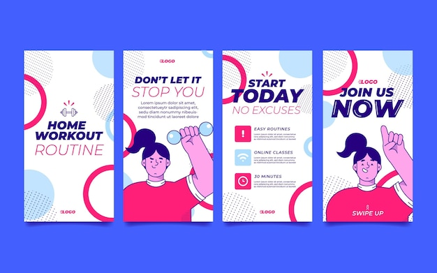 Flat health and fitness instagram stories collection