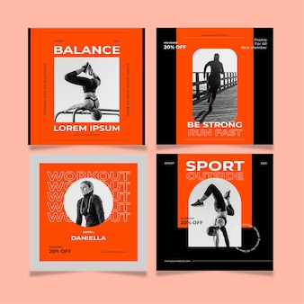 Flat health & fitness post collection with photo