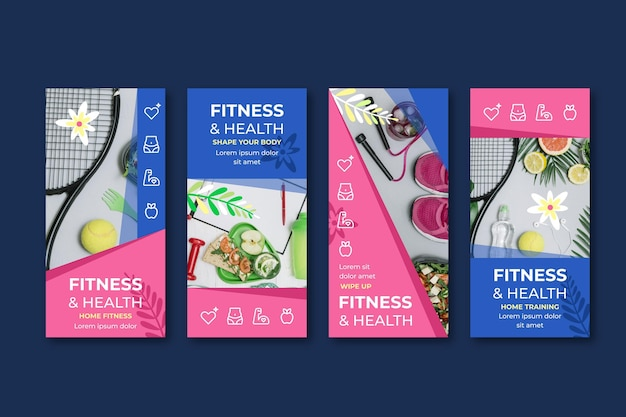 Raccolta di post salute e fitness piatta flat
