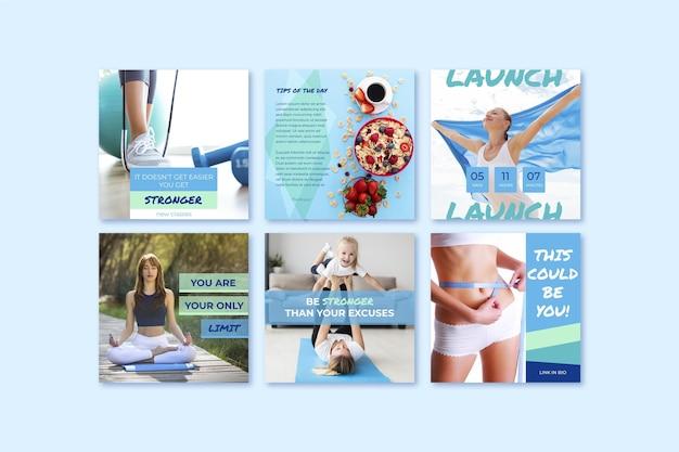 Set di post salute e fitness piatto con foto