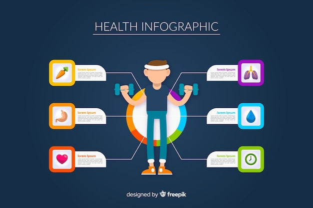 Flat health infographics of athletes