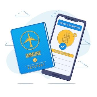 Illustrazione del passaporto sanitario piatto