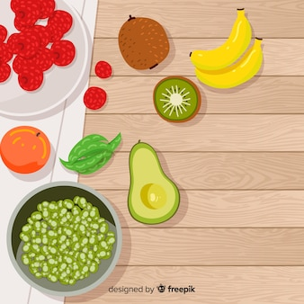 Flat healthy food background