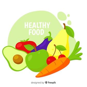 Flat healthy food background