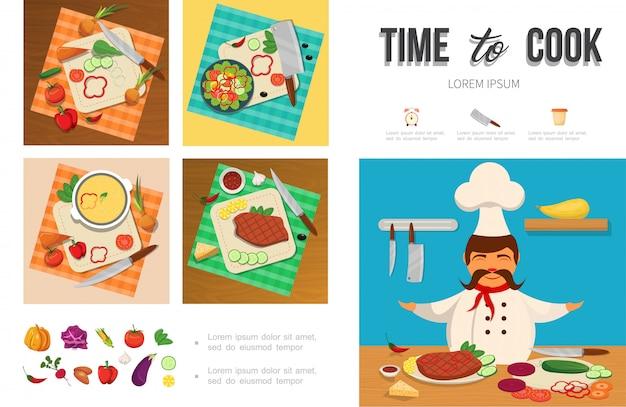 Плоский инфографический шаблон приготовления здоровой пищи с шеф-поваром, овощами, мясным сыром на разделочной доске, ножами