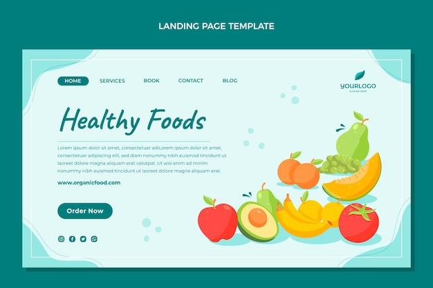 Modello di pagina di destinazione piatto cibo sano