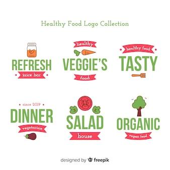 플랫 건강 식품 로고 세트