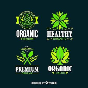 Flat healthy food logo set