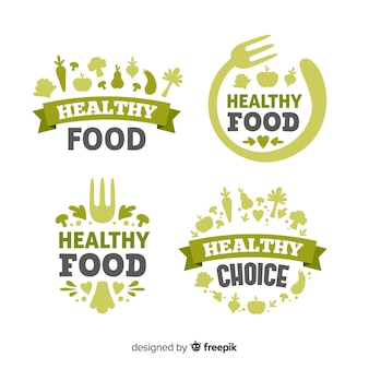 Flat healthy food logo set