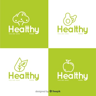 フラット健康食品のロゴセット
