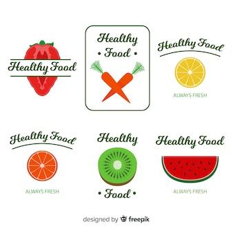 Flat healthy food logos