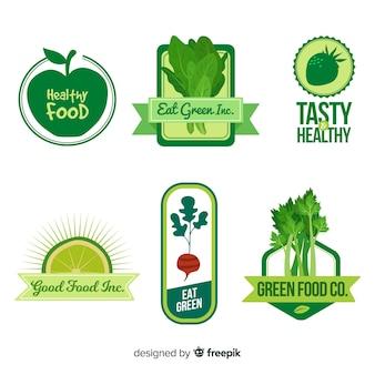 평평한 건강 식품 로고
