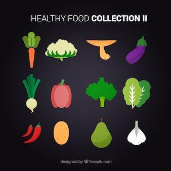 Плоский здоровый набор продуктов питания