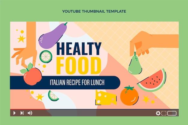 Miniatura di youtube con cibo sano e piatto