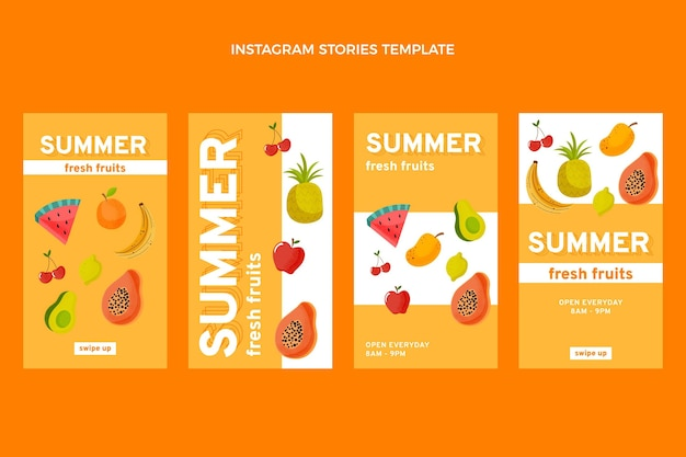 Storie di instagram di frutta piatta e salutare