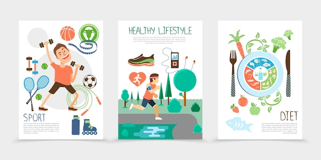 Плоские брошюры о здоровом образе жизни с фитнес-человеком, спортивным снаряжением, спортсменом, работающим в общественном парке, фрукты, рыба и овощи