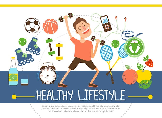 Flat healthy lifestyle concept with athlete soccer basketball tennis balls rackets fruits water scales dumbbels clock rollers music player illustration