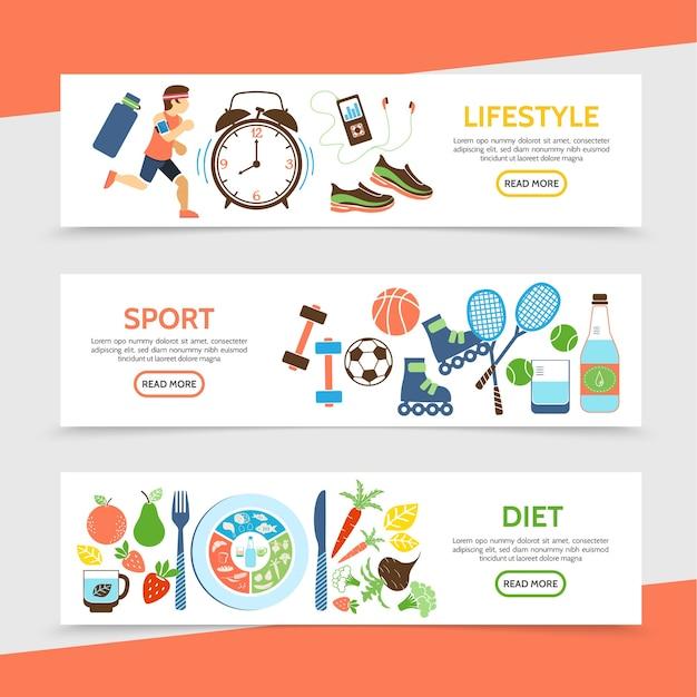 Плоские горизонтальные баннеры здорового образа жизни с бегущим спортсменом, часы, спортивное снаряжение, бутылка воды, фрукты и овощи, иллюстрация