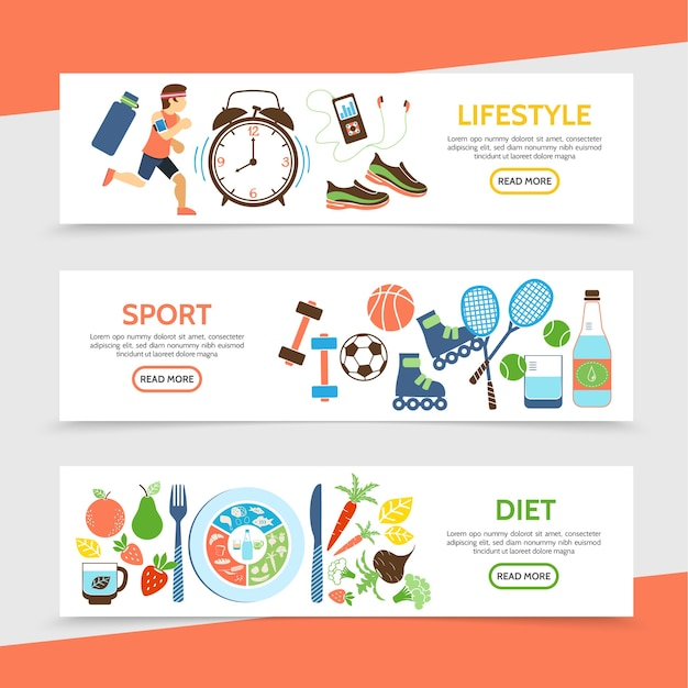 Flat healthy lifestyle horizontal banners with running athlete clock sport equipment bottle of water fruits and vegetables illustration