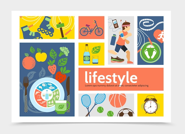 Flat healthy lifestyle infographic concept with running man rollers tennis soccer basketball balls alarm clocks bicycle fruits vegetables illustration