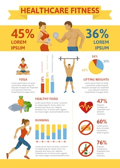 Flat healthy lifestyle infographic concept