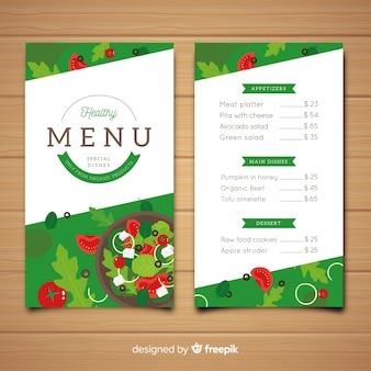Flat healthy menu template
