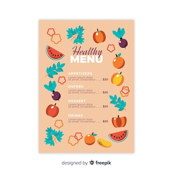 Flat healthy menu template