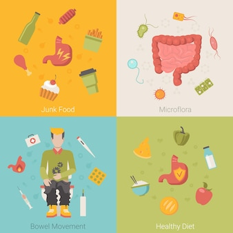 Flat healthy stomach intestines bowel organ vector concept. junk food microflora bowel movement diet