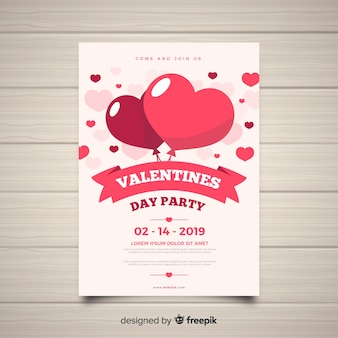 Flat heart balloons valentine party poster template