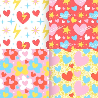 Flat heart pattern collection