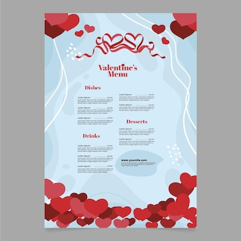 Flat heart shapes valentine's day menu template