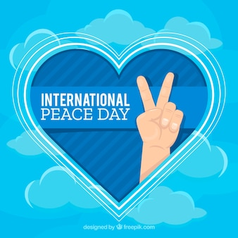 Flat heart, sky and peace fingers