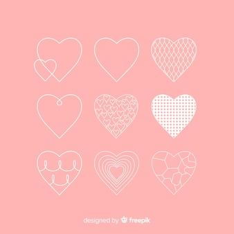 Flat hearts background