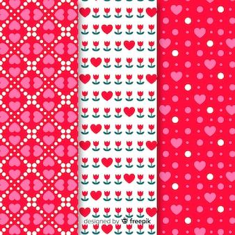 Flat hearts pattern set