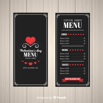 Flat hearts valentine menu template