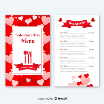 Flat hearts valentine menu