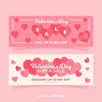 Плоские сердца валентина продажа баннер