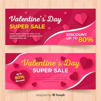 Flat hearts valentine sale banner