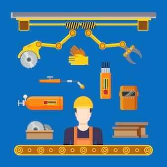 플랫 중공업 기계 생산 라인 컨베이어 워크숍 개념.