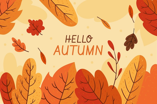 Flat hello autumn leaves background