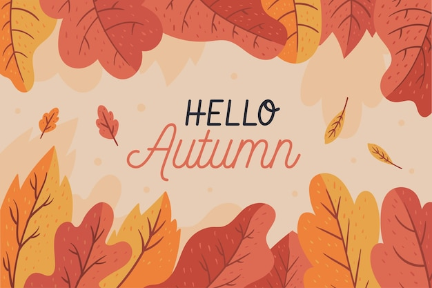Flat hello autumn leaves wallpaper