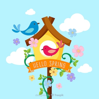 Flat hello spring background