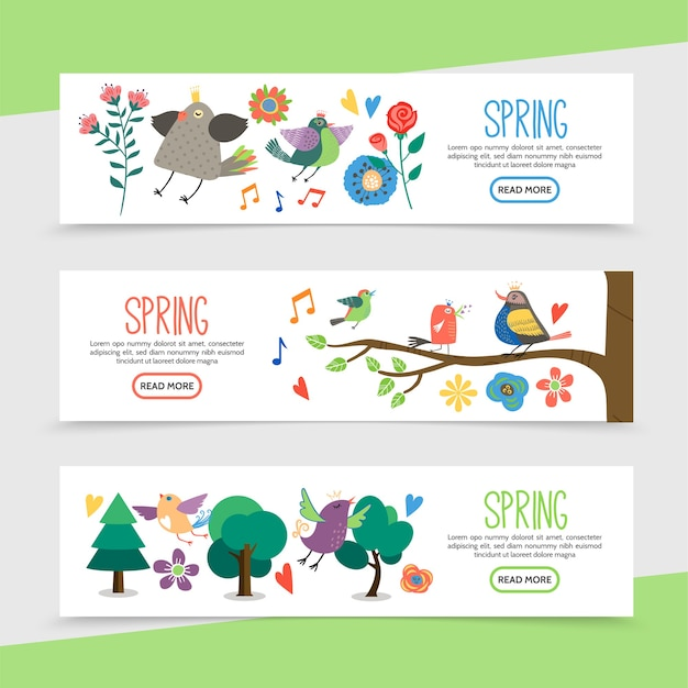 Flat hello spring horizontal banners with beautiful flowers music notes cute birds sitting on tree branches