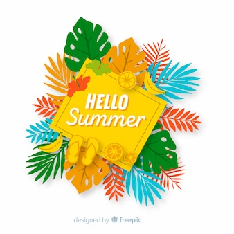 Flat hello summer background with leaves