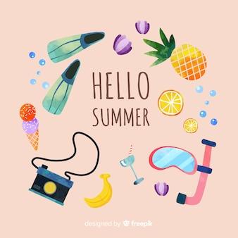 플랫 안녕하세요 여름 배경