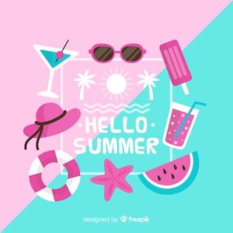 Flat hello summer background