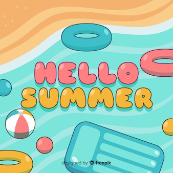 Flat hello summer background