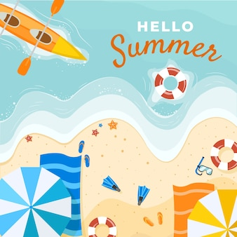Flat hello summer illustration