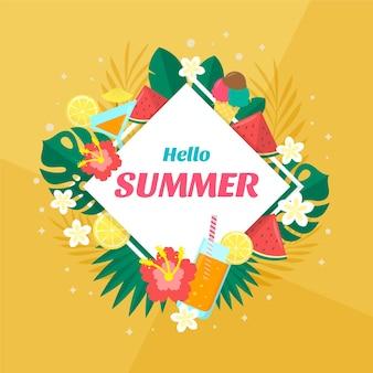 Illustrazione piatta ciao estate